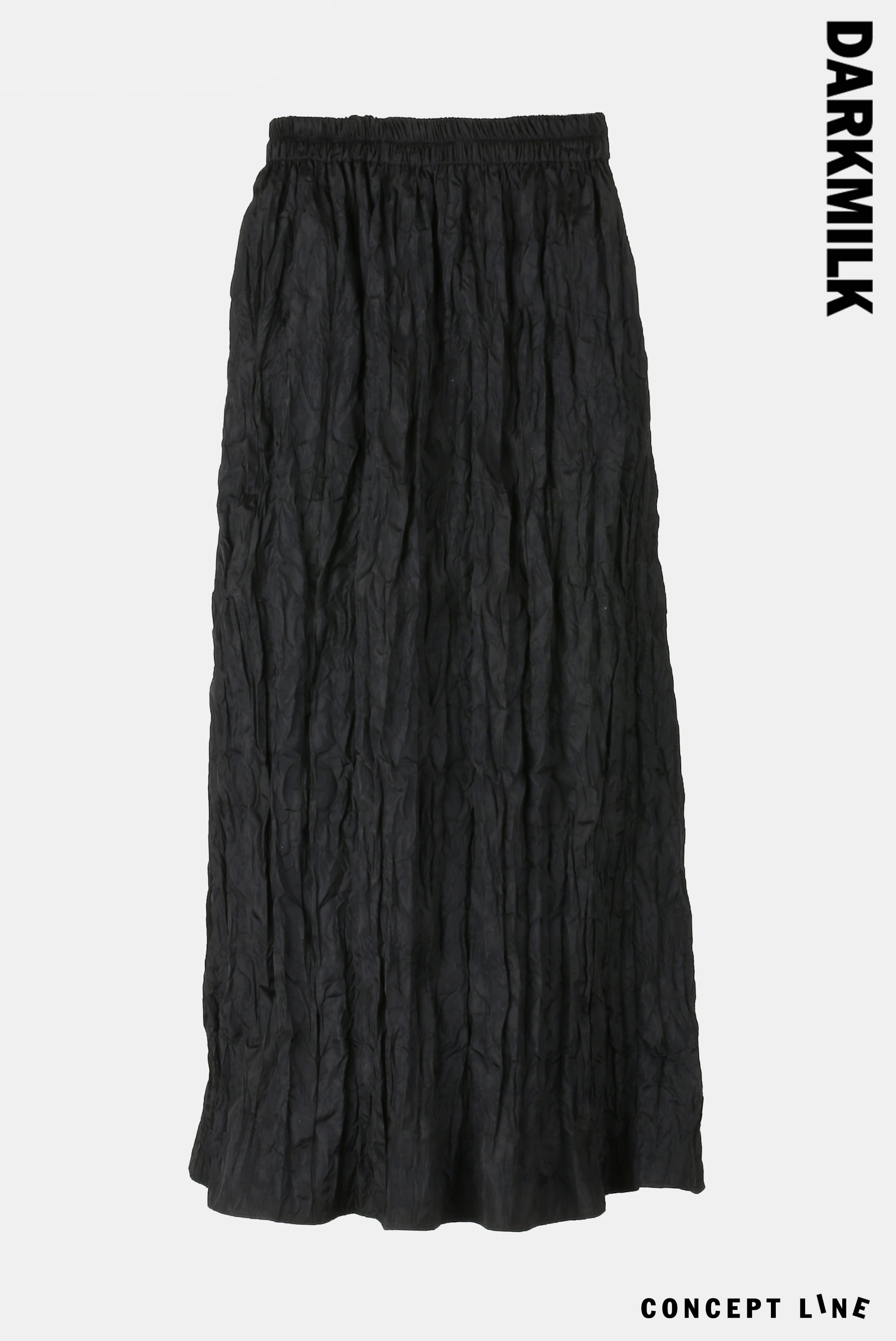 [Concept] Nylon Wrinkle_Long Skirt [Black]