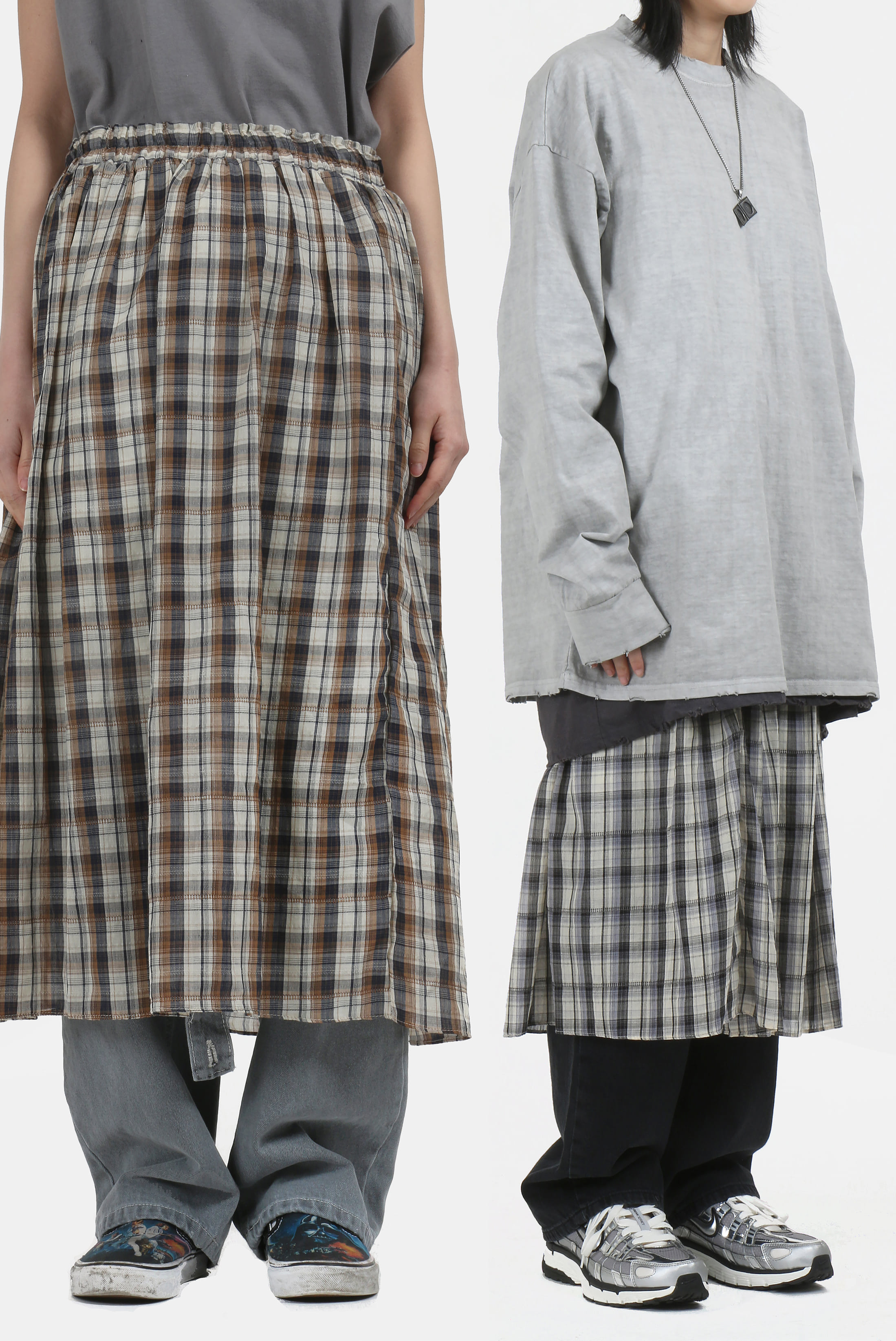 (W) Vintage_Check Long Skirt