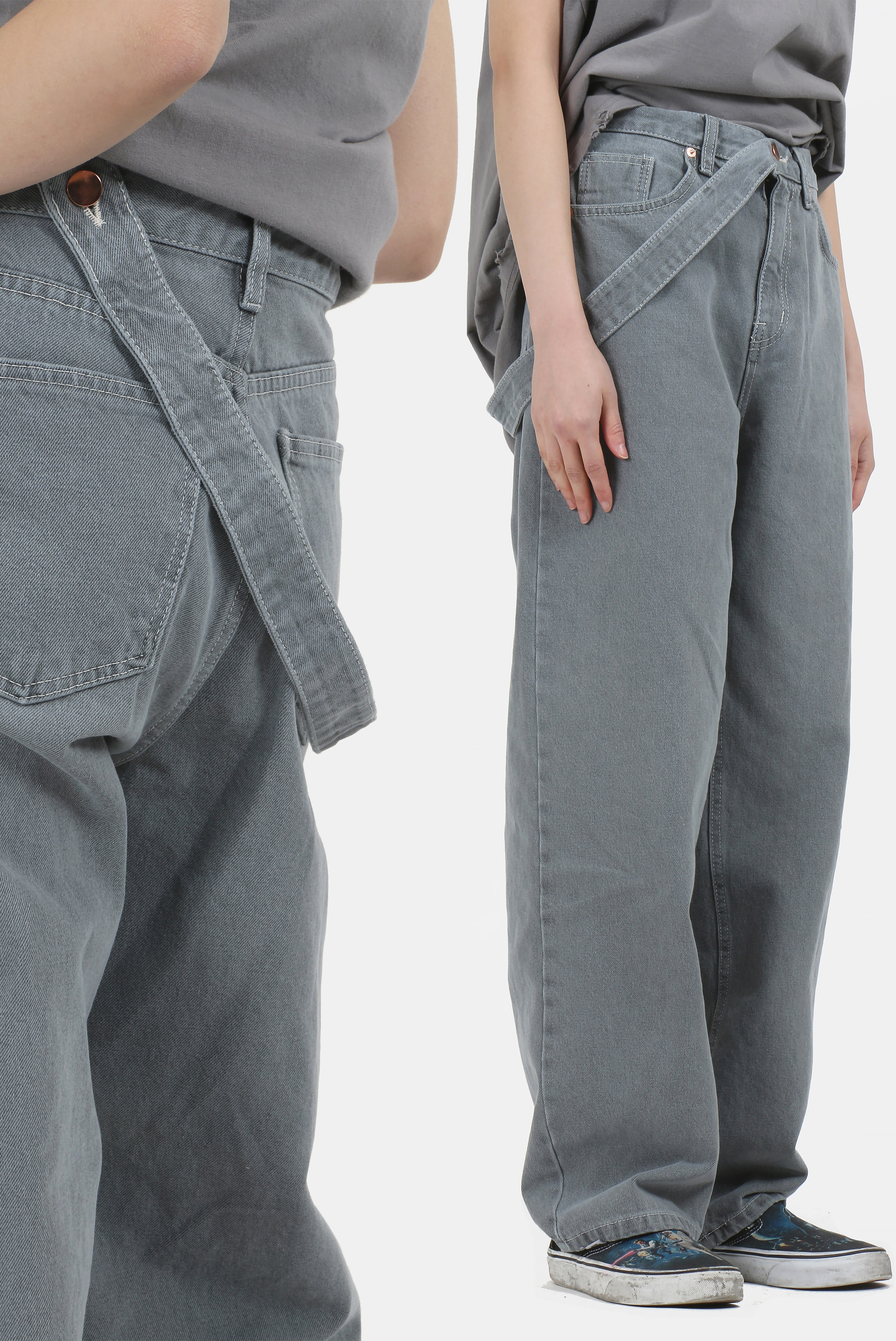 (W) Belt_Detail Denim Wide_Pants