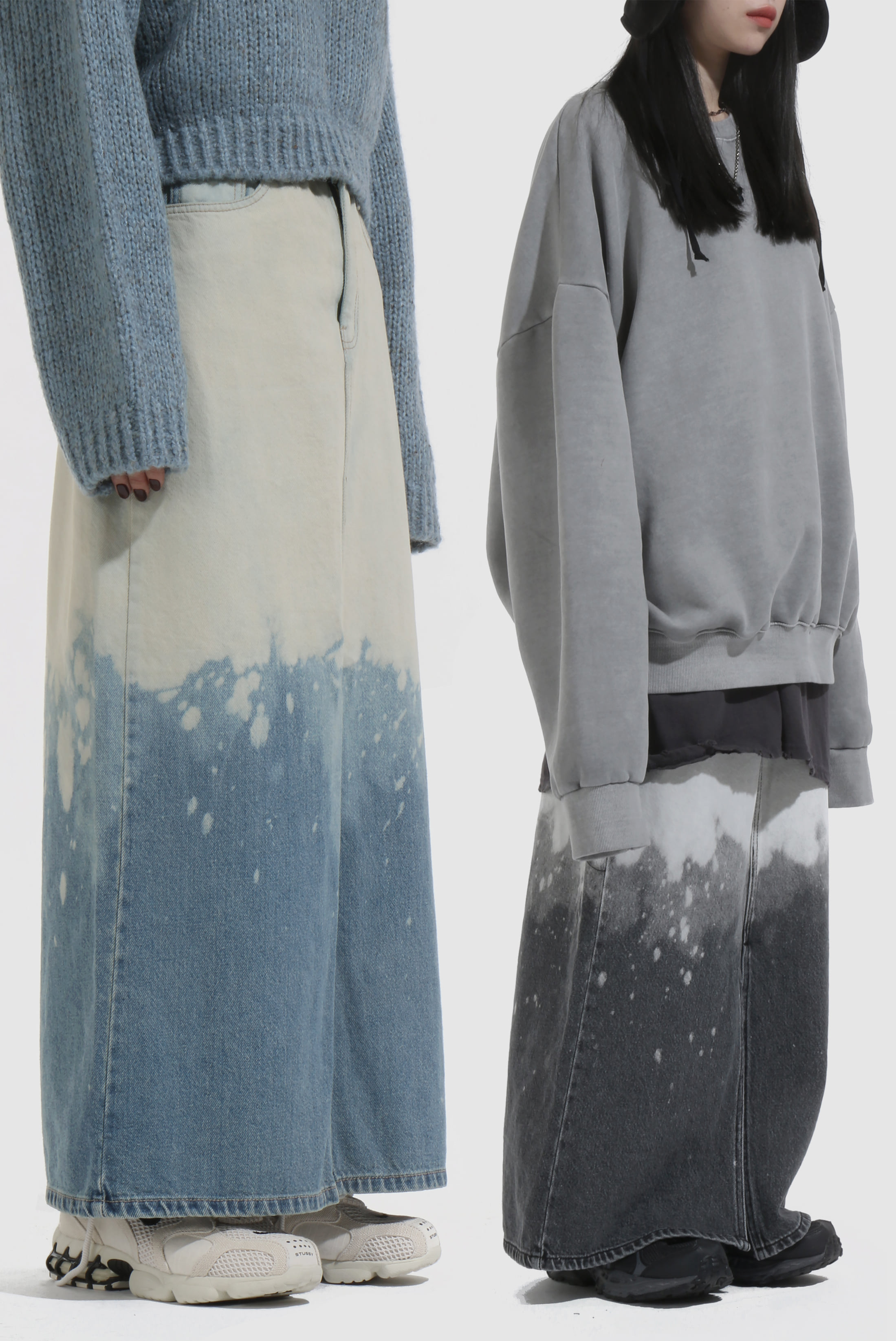 (W) 2Color Washied Over_Long Skirt