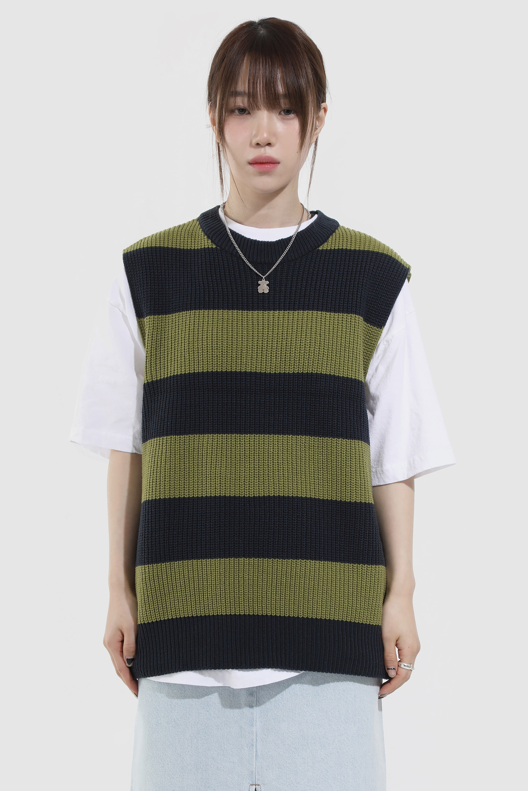 Stripe Color Knit_Vest